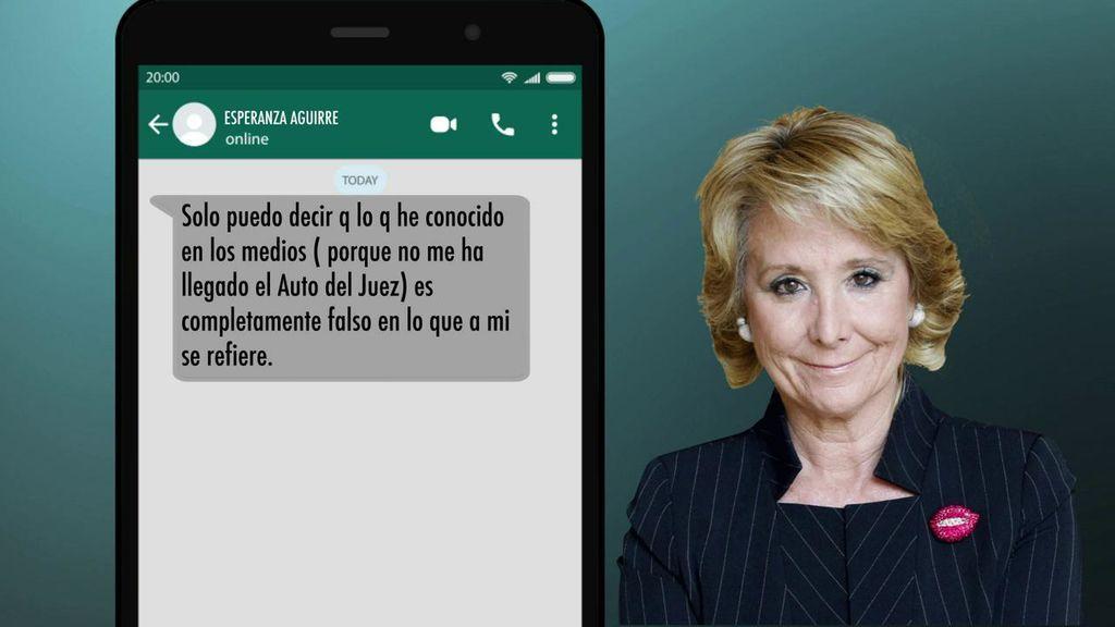 Los mensajes de Aguirre a 'El programa del Verano' tras conocer su imputación en la Púnica