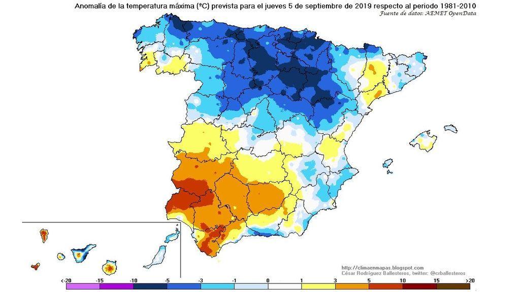 Anomalía de las temperaturas máximas prevista para el jueves, 5 de septiembre / @crballesteros