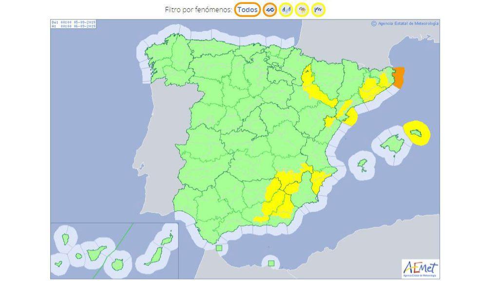 Avisos por tormentas, lluvias, viento y oleaje adverso previstos para el jueves / Aemet