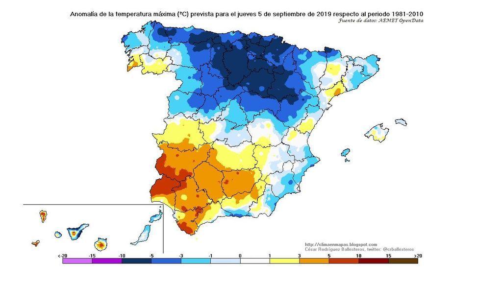 Anomalía de la temperatura máxima prevista para el jueves, 5 de septiembre / @crballesteros