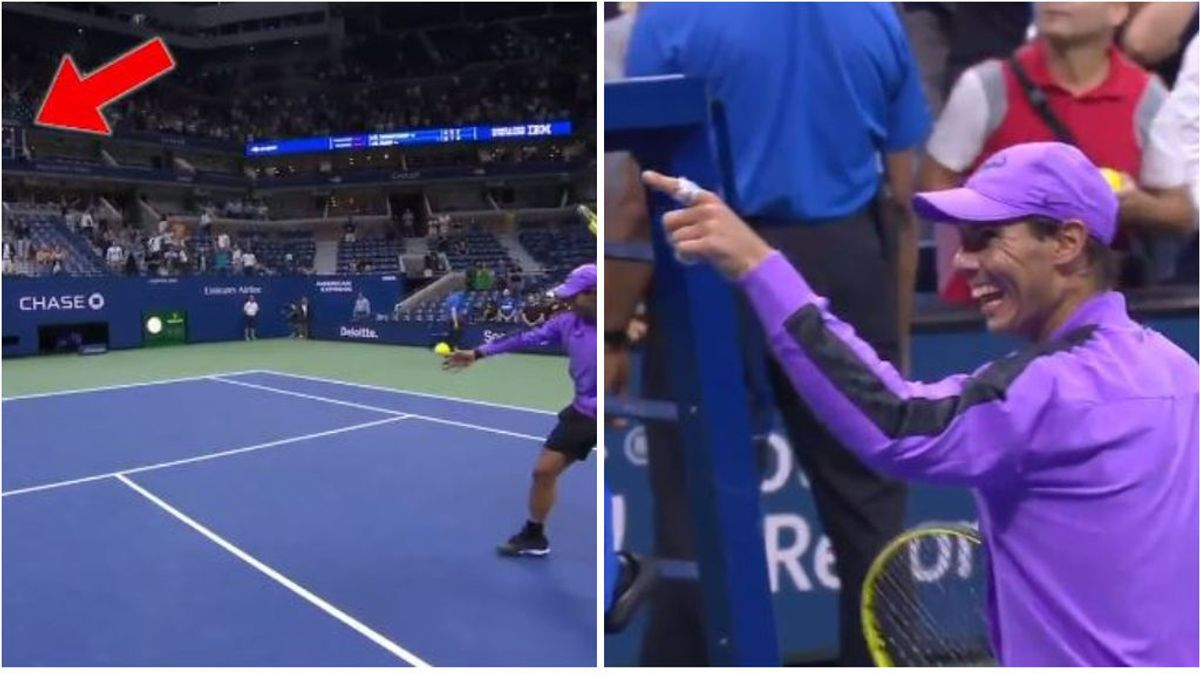 El golpe maestro de Rafa Nadal: mete un bolazo desde la pista hasta la cabina de comentaristas