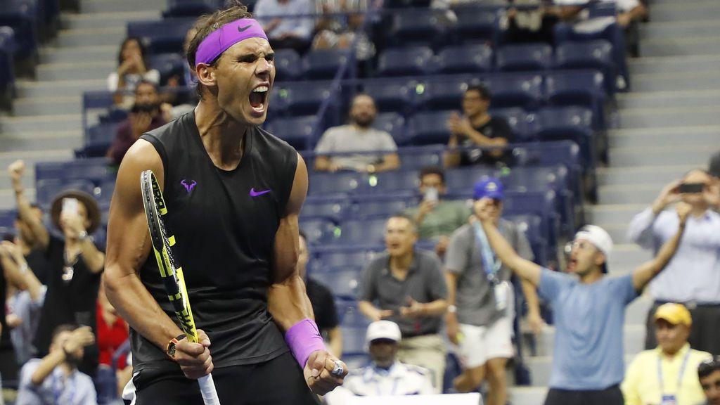Rafa Nada celebra su pase a las semifinales del US Open tras vencer a Schwartzman