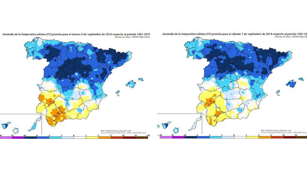 Anomalía de las temperaturas mínimas previstas para el viernes y sábado / @crballesteros