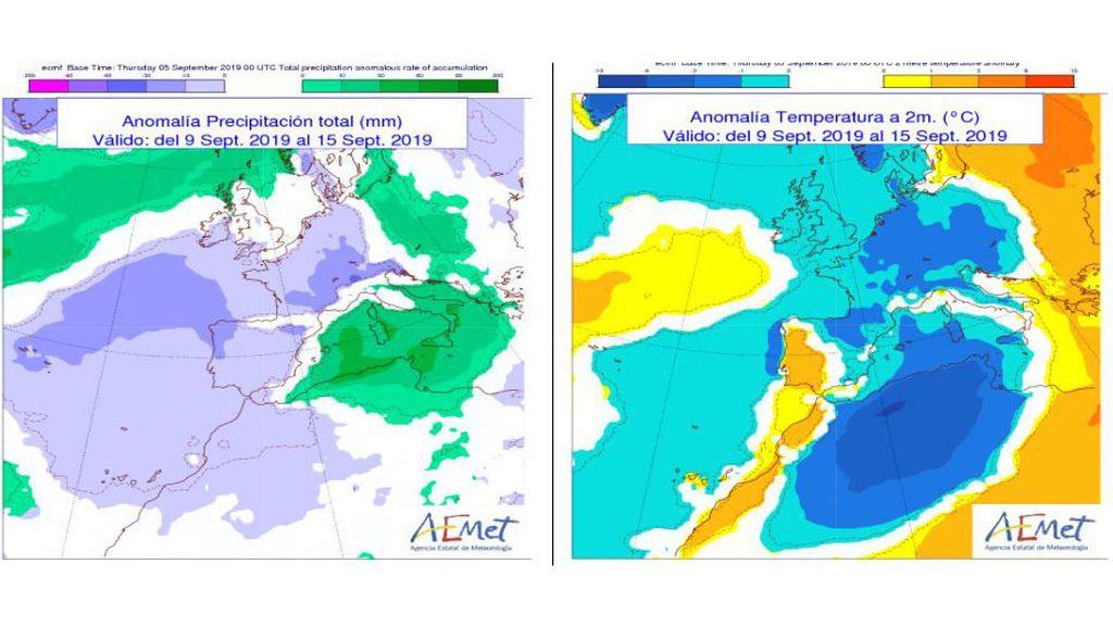 Anomalía de la temperatura y precipitación media previstas para la semana que viene / Aemet