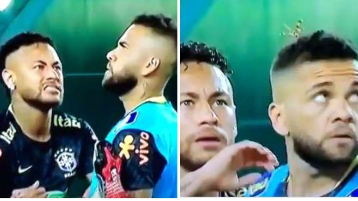 El susto de Neymar al ver un insecto posado en la cabeza de Dani Alves: la reacción de ambos se ha hecho viral
