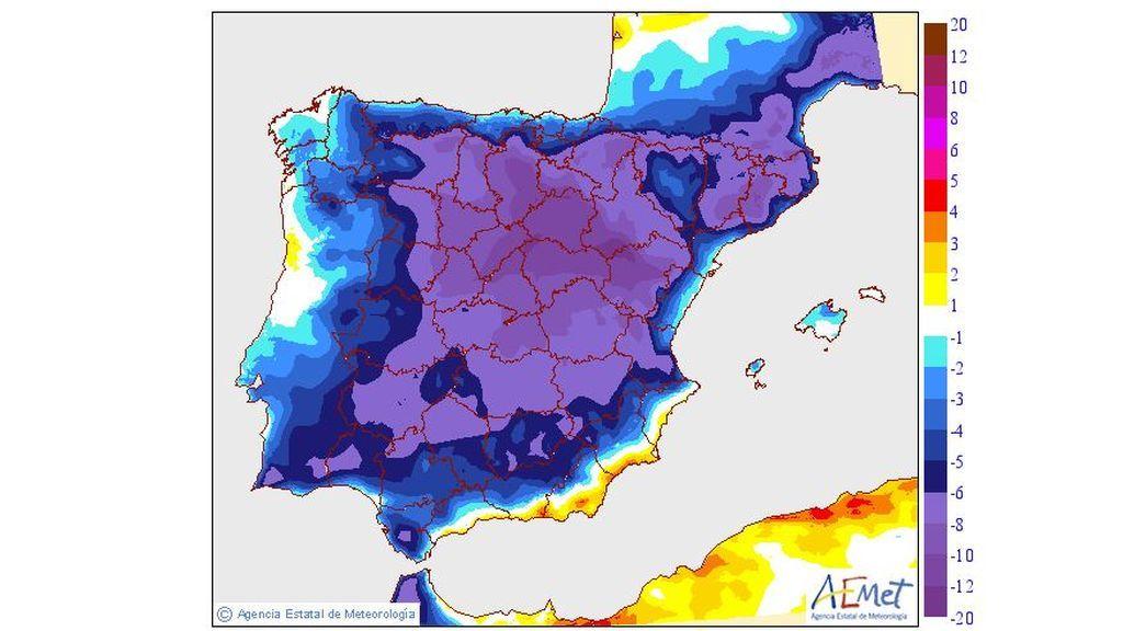 Variación de las temperaturas máximas prevista para el martes, 10 de septiembre / Aemet