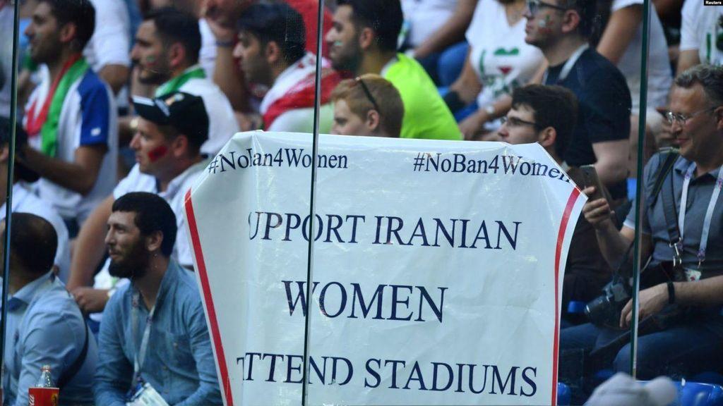Protestas a favor del derecho de las mujeres a acudir a los estadios de fútbol en Irán  durante el mundial de Rusia 2018
