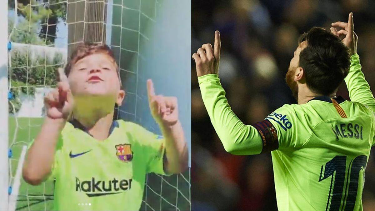 Mateo Messi cumple 4 años y lo celebra marcando un gol imitando a su padre