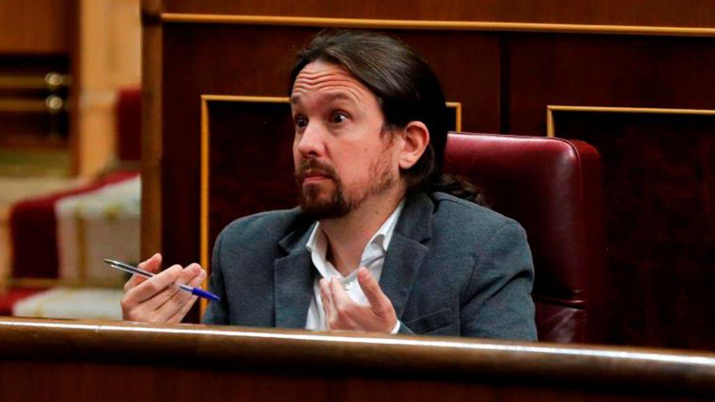Pablo Iglesias, en su escaño del Congreso