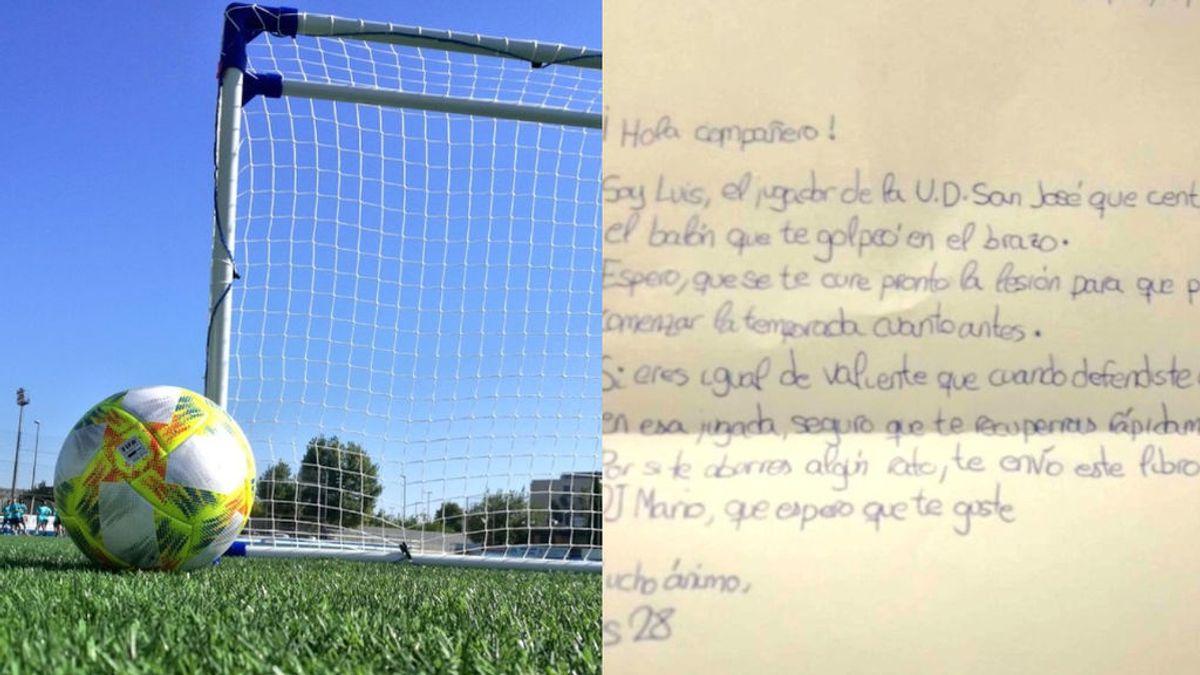 """La carta de un niño de 10 años a su rival tras lesionar su brazo: """"Si eres así de valiente defendiendo, te recuperas rápido seguro"""""""