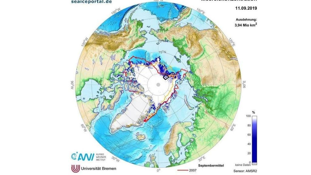La extensión de hielo en el Océano Ártico marca su segundo mínimo histórico