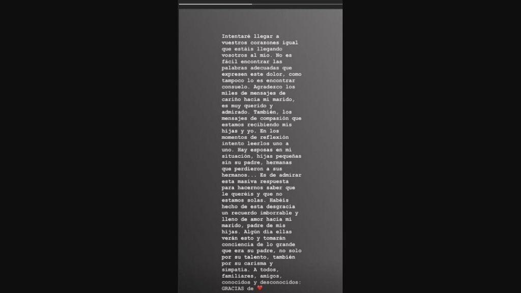 Story subido a Instagram por Noelia López en el que agradece los comentarios de apoyo y fuerza enviados por sus seguidores