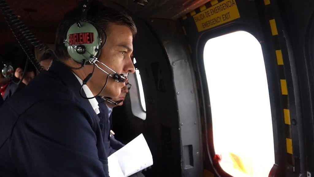 Pedro Sánchez, ha realizado un recorrido en helicóptero hacia Orihuela