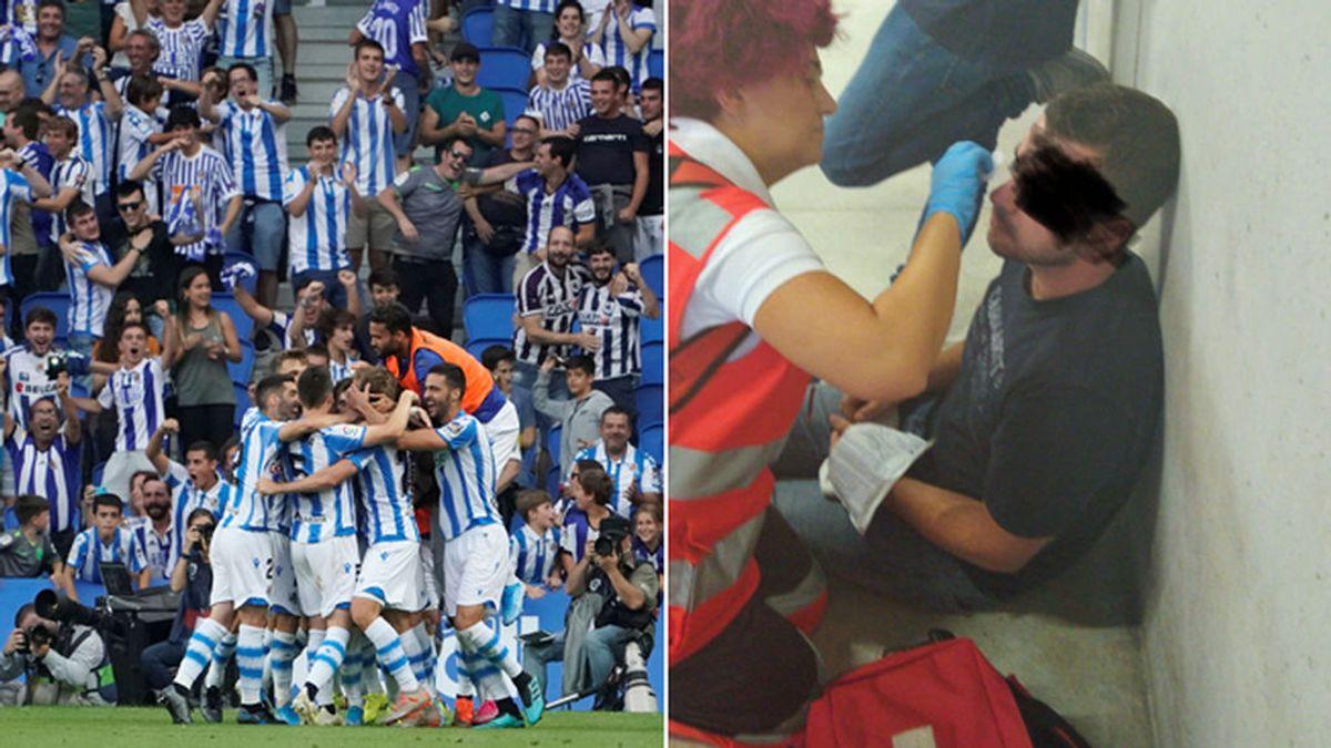 Detenidos dos jóvenes por agredir a tres aficionados del Atlético de Madrid en el acceso al estadio de Anoeta