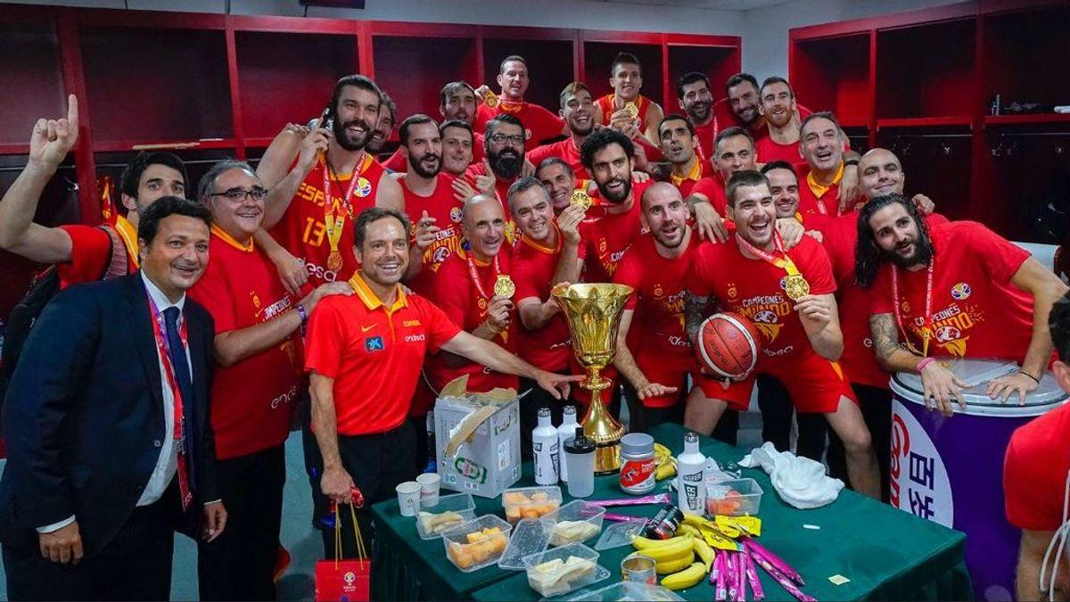Minuto a minuto, la celebración de la selección española de su título mundial de baloncesto