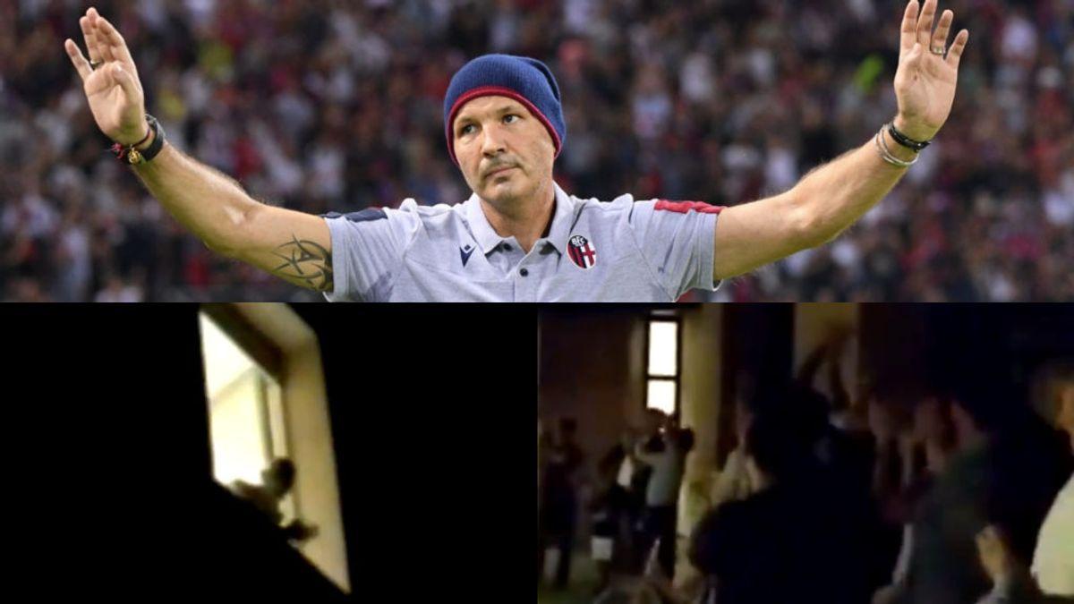 El entrenador del Bolonia llama al equipo en el descanso desde el hospital, remontan el partido tras ir perdiendo 3 - 1 y le cantan a la ventana tras el pitido final.