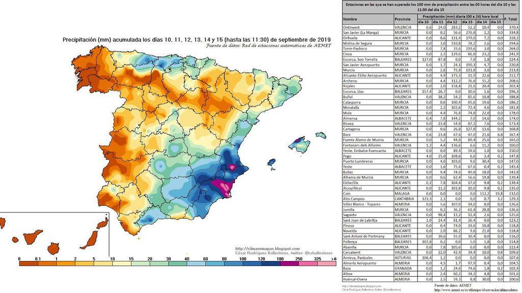 Mapa y tabla de acumulación de precipitación entre los días 10 y 15 de septiembre / @crballesteros