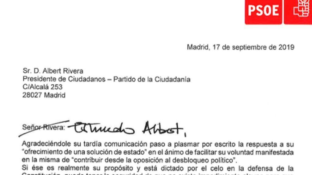 """""""Estimado Albert, un abrazo"""": los cambios en la carta de Sánchez que Rivera considera una tomadura de pelo"""