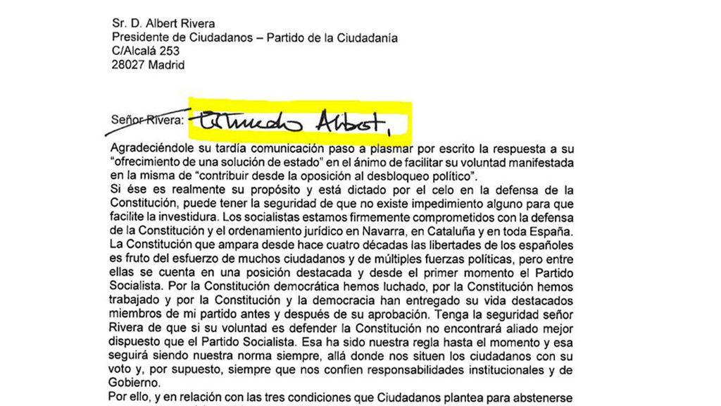 Carta de Pedro Sánchez a Rivera