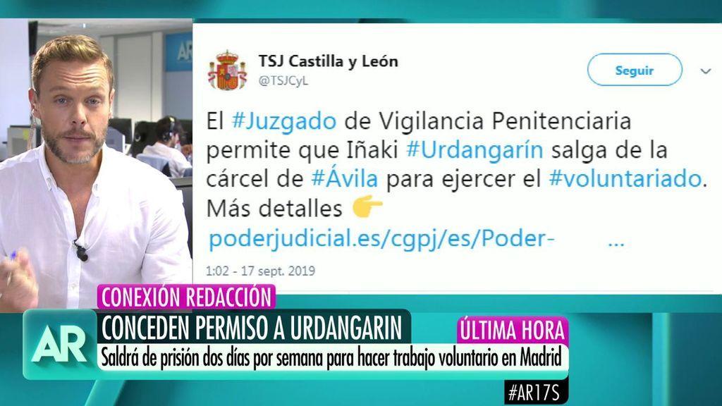 Urdangarín podrá salir de prisión dos veces a la semana