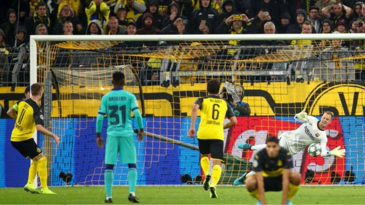 Tres jugadores dentro del área y Ter Stegen adelantado: los fallos que el árbitro no vio en el penalti del Borussia