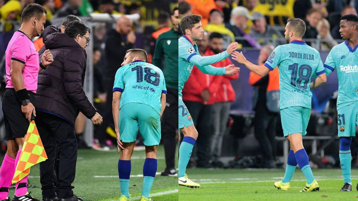 Jordi Alba, baja por tiempo indefinido tras sufrir una lesión en el bíceps femoral izquierdo