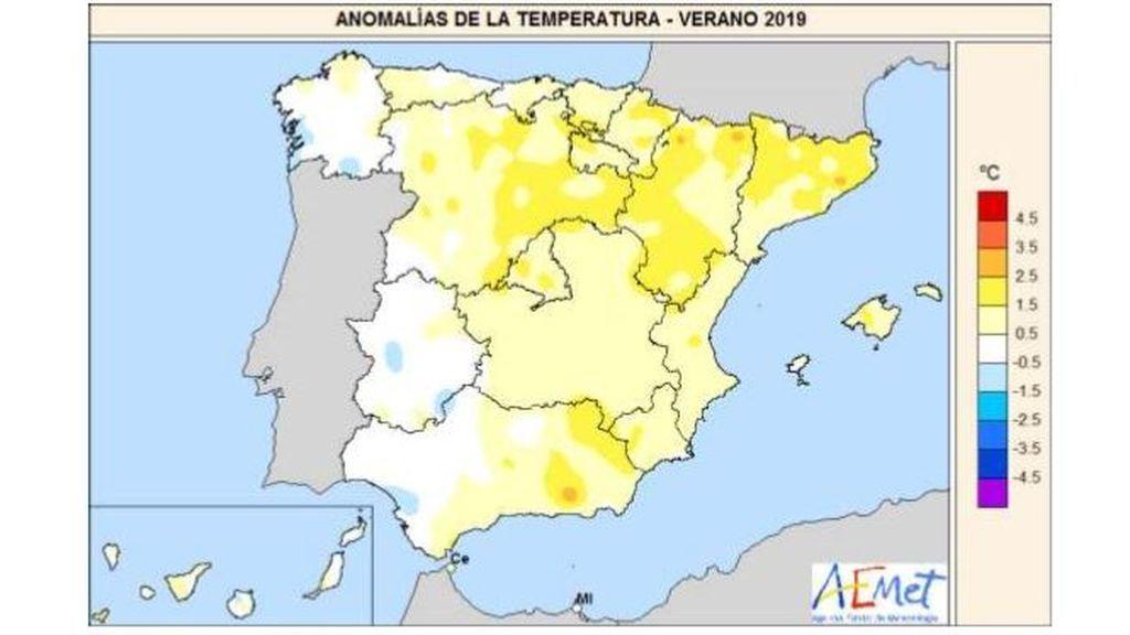 Anomalía de las temperaturas a lo largo del verano de 2019 / Aemet