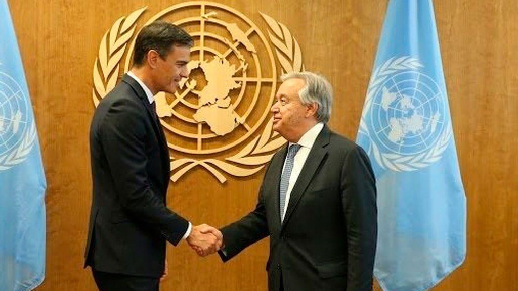 Pedro Sánchez con António Guterres, secretario general de la ONU