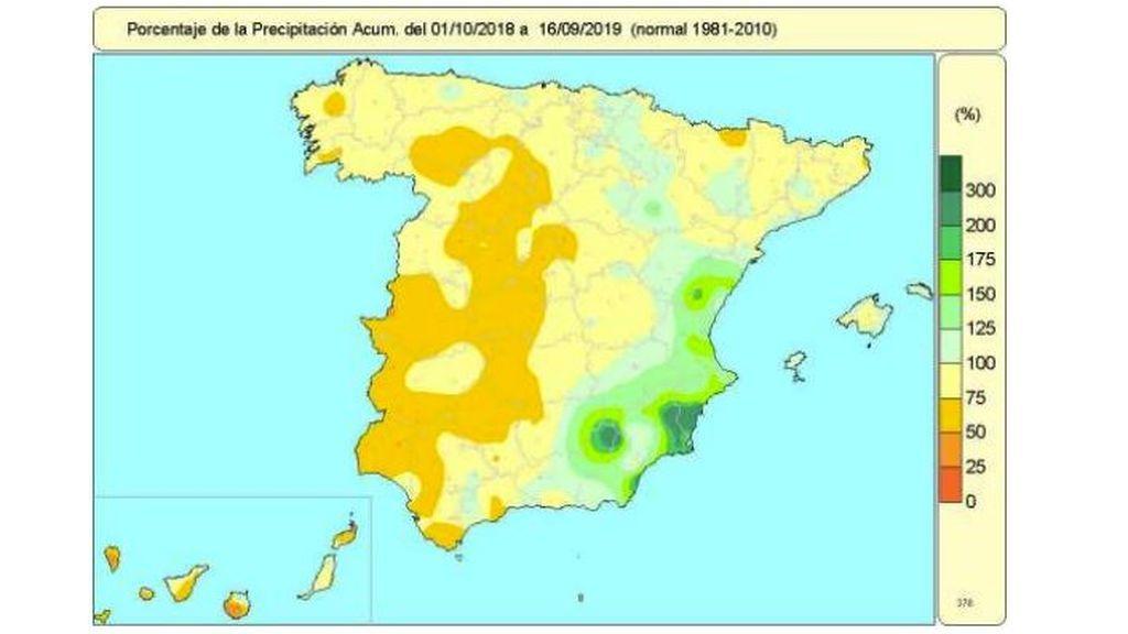 Porcentaje de precipitación acumulada del 1 de octubre 2018 al 16 de septiembre 2019 / Aemet