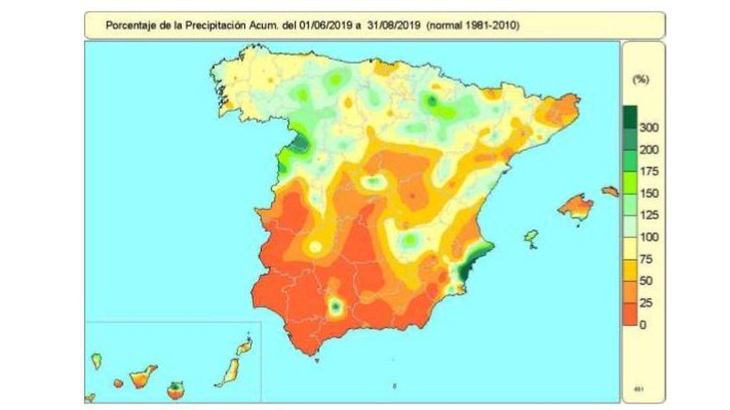 Porcentaje de precipitación del 1 de junio al 31 de agosto / Aemet