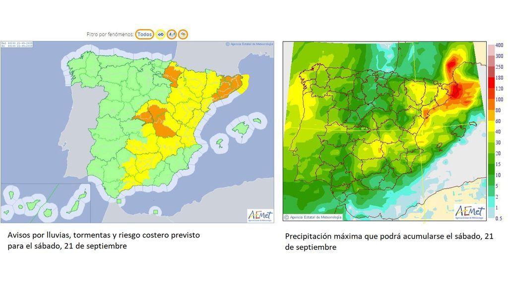 Avisos y precipitación máxima previstos para el sábado, 21 de septiembre / Aemet