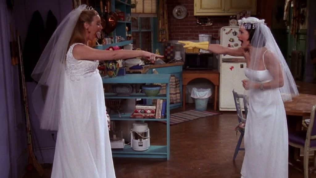 Friends-Phoebe-and-Monica-in-wedding-gowns