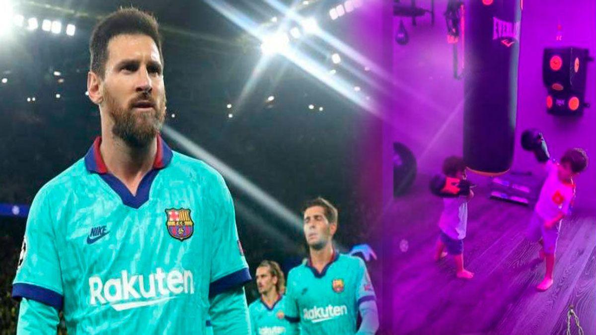 Duelo de 'boxeo' entre Ciro y Mateo Messi al más puro estilo 'Rocky Balboa'