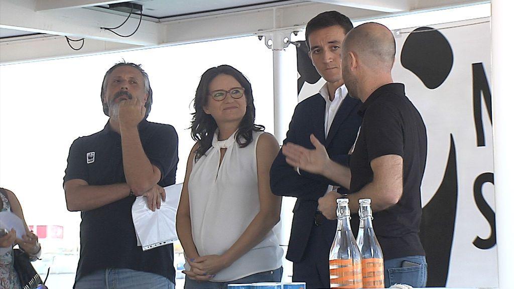 Mónica Oltra esta mañana en la Marina Real