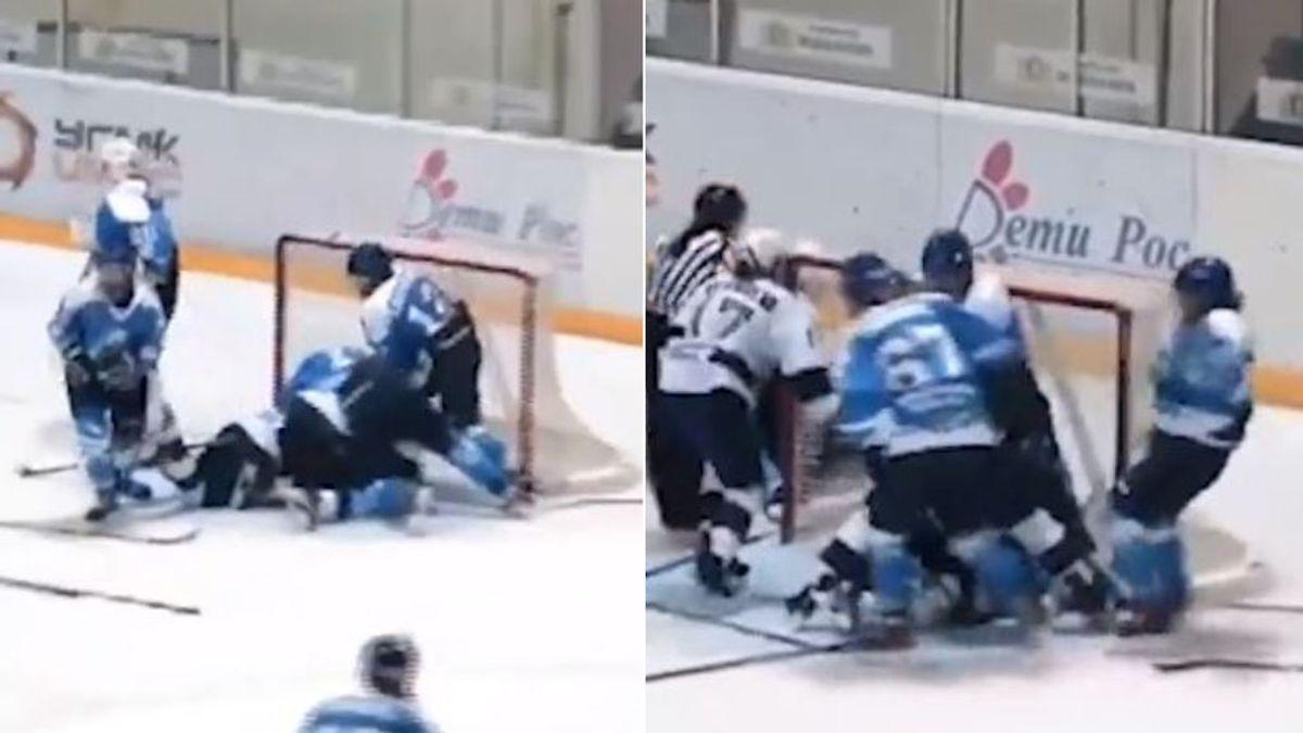 """La violenta pelea en un partido de hockey sobre hielo femenino como si fuera de la UFC: """"Lo aprendí de Khabib"""""""