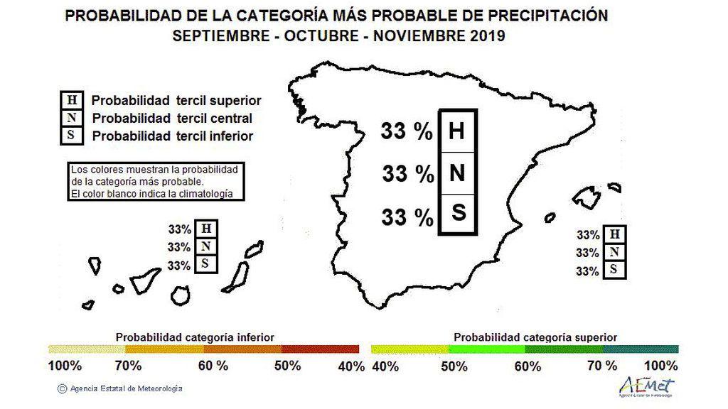 Probabilidad del carácter que tendrá el otoño en cuanto a precipitaciones (húmedo, normal o seco) / Aemet