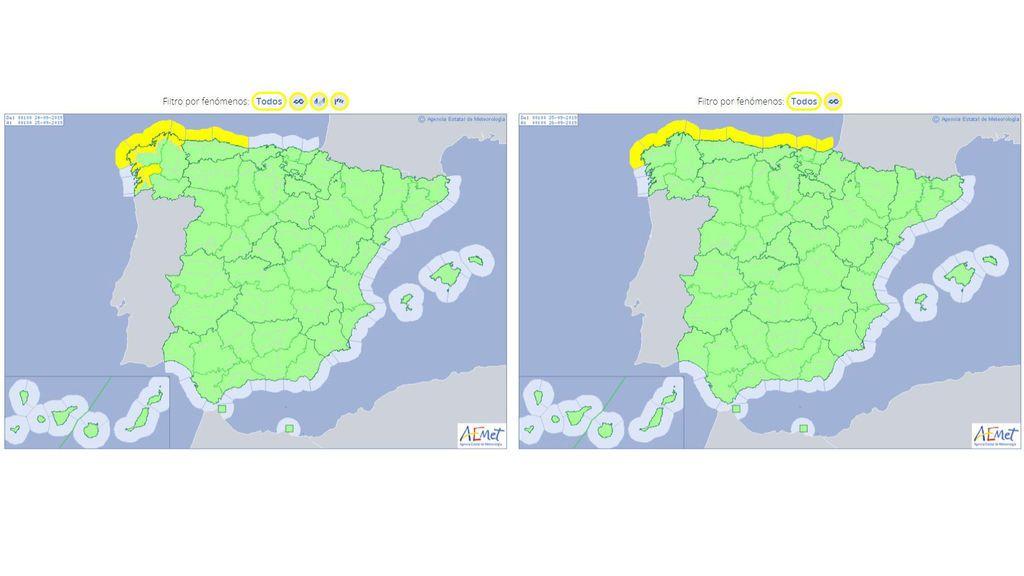 Avisos previstos para el martes y miércoles, respectivamente, por lluvias, viento y oleaje / Aemet