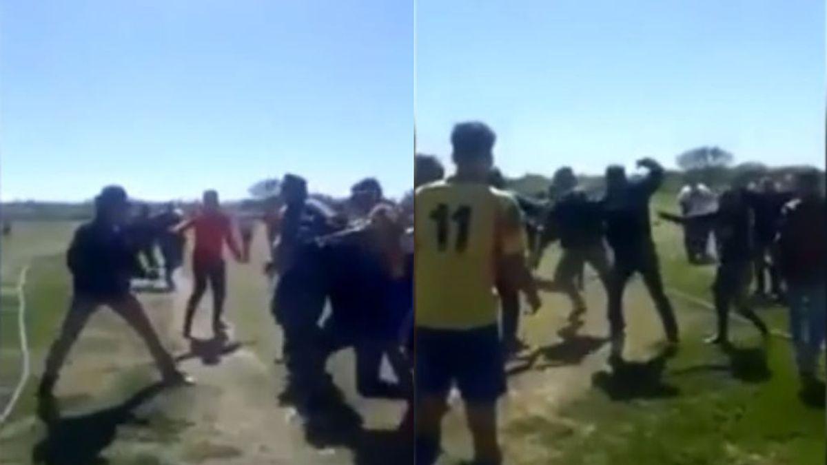 Tremenda pelea entre padres, jugadores y entrenadores en un partido de juveniles