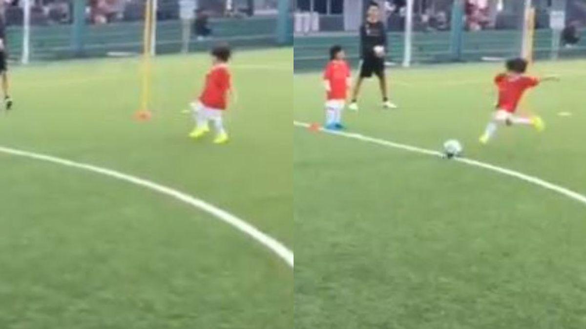 El 'método Iniesta' empleado por Paolo Andrea: ¡Chuta el balón como su padre!