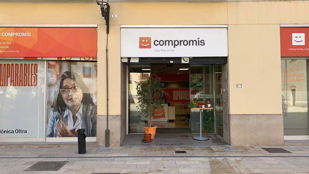 Sede Compromís en Valencia esta mañana