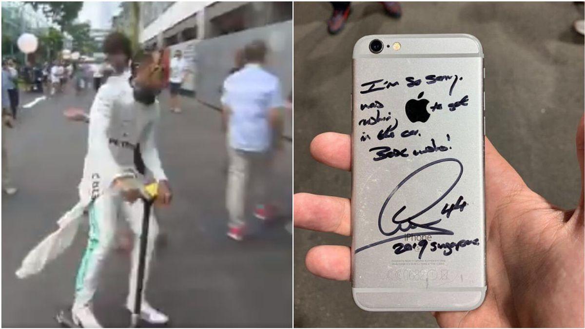 Así fueron las disculpas de Lewis Hamilton a un fan después de tirarle el móvil al suelo