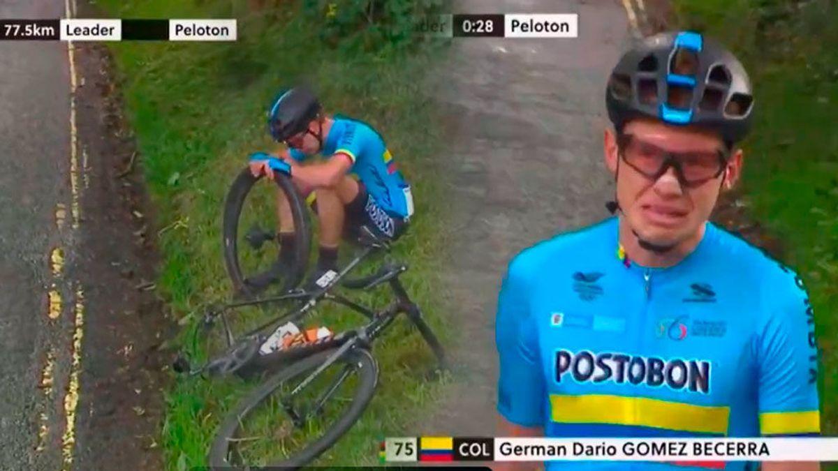 Un ciclista colombiano rompe a llorar después de tener una avería y no ser ayudado por ningún equipo