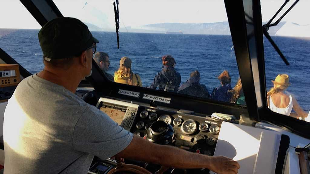 Paco Gil patroneando su embarcación de avistamiento de cetáceos