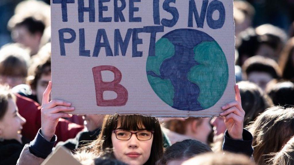 Manifestante de la marcha contra el calentamiento global de Alemania
