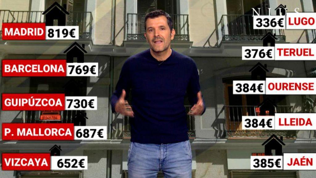 Dónde es más caro y más barato alquilar en España