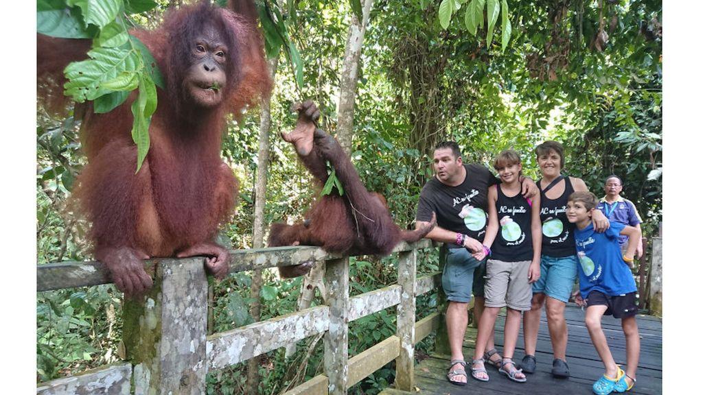 Javier, Nati, Carla y Alejandro durante su viaje