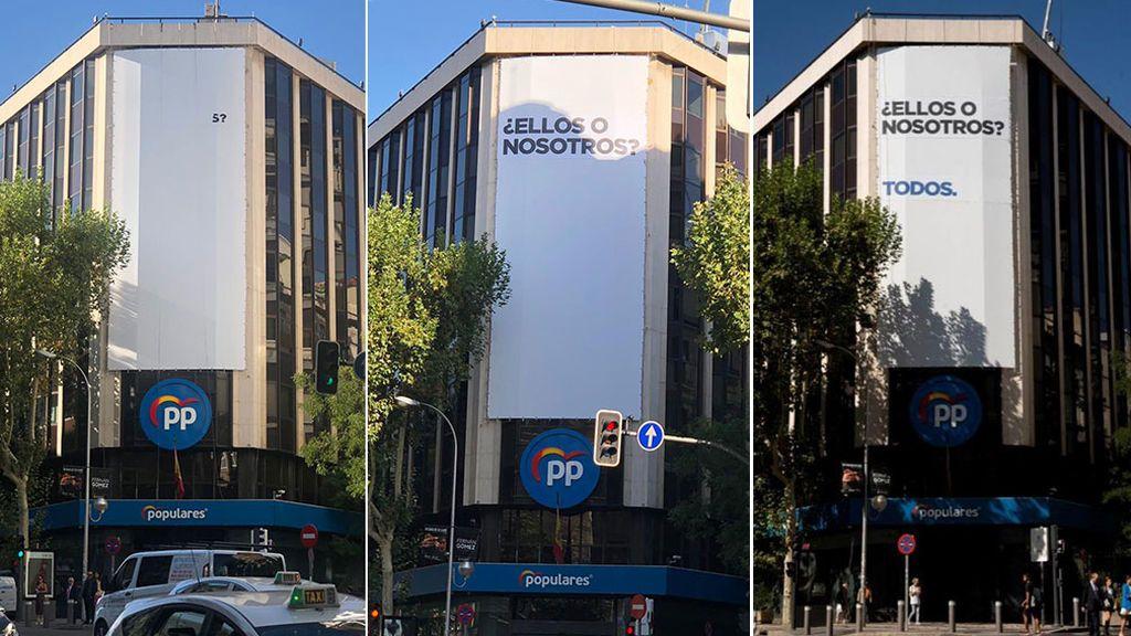 """""""¿Ellos o nosotros?"""", la pregunta que hace el PP en un cartel gigante instalado en su sede"""