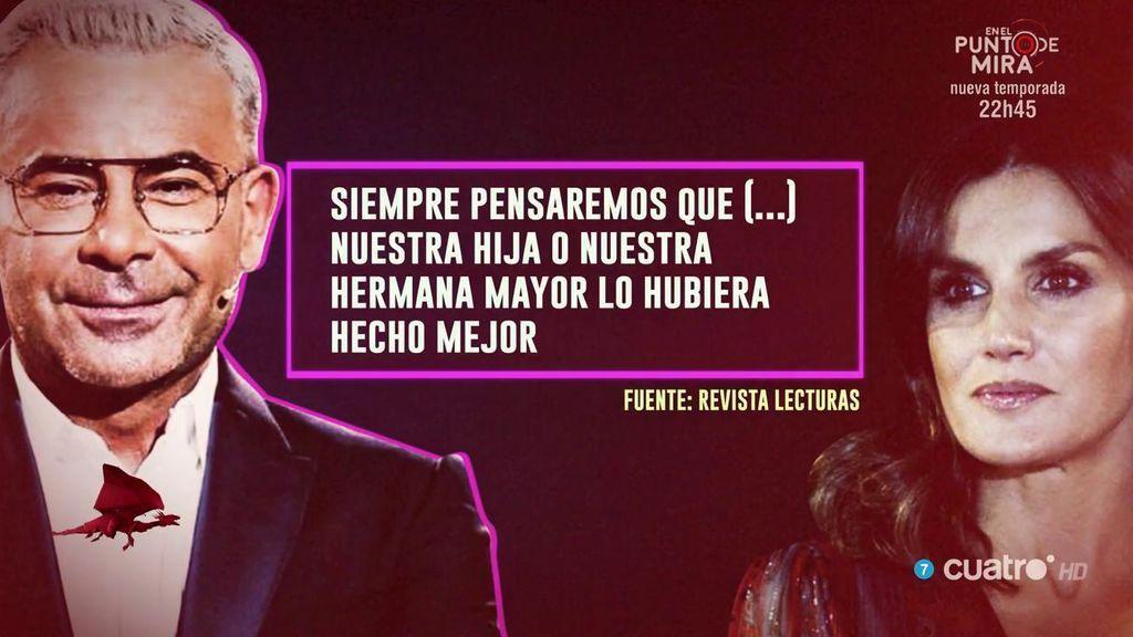 Jorge Javier Vázquez sale en defensa de la reina Letizia