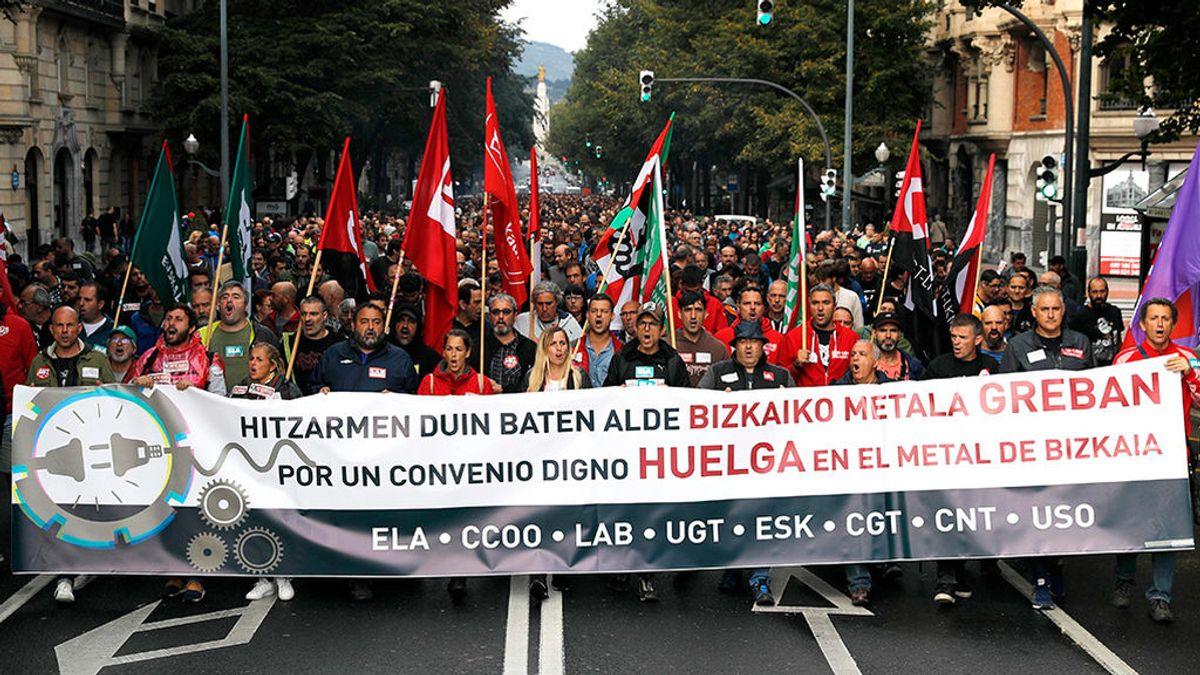 Las protestas de  los trabajadores del metal paralizan Bilbao