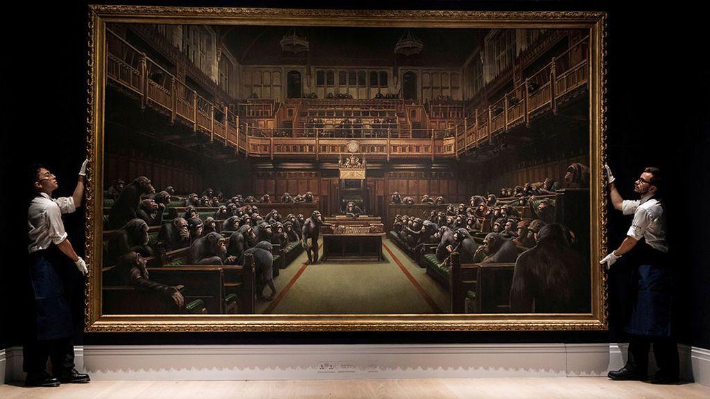 Los chimpancés parlamentarios de Banksy, subastados por 11 millones de euros